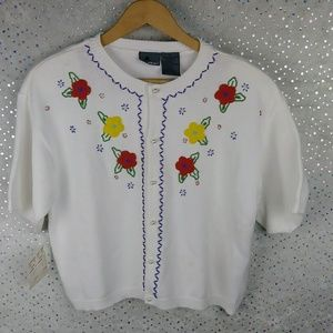 Vtg NWT LizWear Beaded Cropped Cardigan Sweater